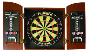 Dart Board Cabinet Plans Amazon Com Triumph Sports Round Top Bristle Dartboard Wood