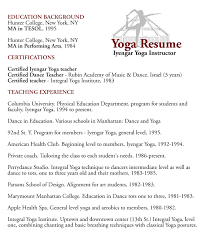 Show Examples Of Resumes by Download Yoga Resume Haadyaooverbayresort Com