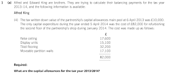 exam questions capital allowances u003c income from self employment
