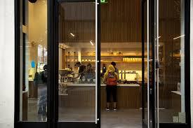 glass door bar at blue bottle u0027s brand new twitter adjacent san francisco coffee bar