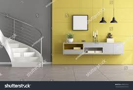 white stair minimalist living room gray stock illustration