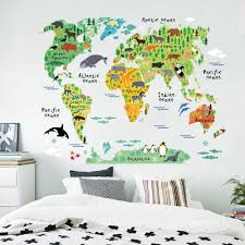 colorful animal world map wall stickers for kids rooms living room colorful animal world map wall stickers for kids rooms living room home decorations pvc decal mural art 037 diy office wall art in wall stickers from home