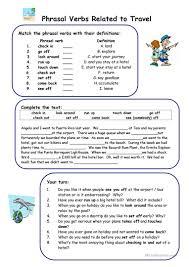 Verb Phrases Worksheets Phrasal Verbs Related To Travel Worksheet Free Esl Printable