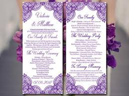 diy wedding program templates lace wedding program template tea length program grape vera