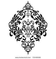 vintage baroque frame scroll ornament engraving stock illustration