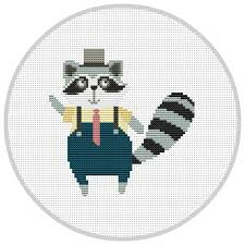 hipster racoon cross stitch pattern for baby nursery forest