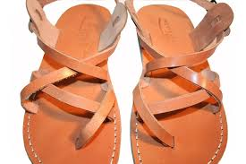 low cost caramel triple unisex leather sandals genuine handmade