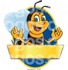 royalty free vector logo of a cartoon worker bee mascot with blank