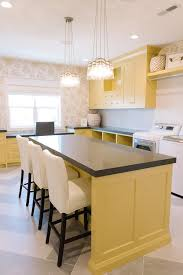 Craft Room Cabinets Yellow Laundry Room Cabinets With Gray Quartz Countertops