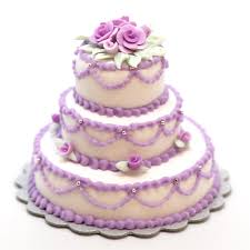 minature triple layer cake w lavender roses stewart dollhouse