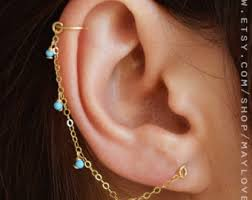 connecting earrings cartilage chain etsy