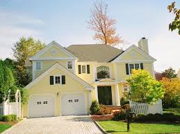 21 nice yellow exterior house drawing with white garage door can