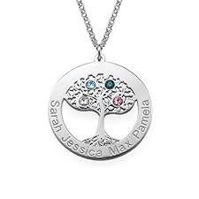 necklace birthstones circle tree of necklace in silver with birthstones