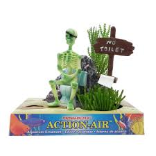 penn plax skeleton no toilet aquarium air ornament aquar