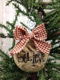 burlap believe ornament via lizzie s homespun holidays