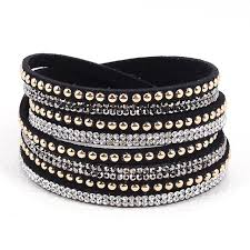 crystal wrap bracelet images Double wrap leather pave crystal bling bracelets wrapped jpg