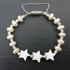 silver pearls bracelet images Childs sterling silver pearl bracelet with mother of pearl stars JPG