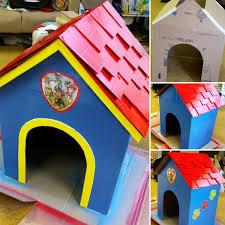 turning cardboard box paw patrol dog house