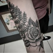 dotwork rose and fern by shane olds rise above tattoo in orlando