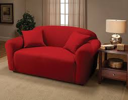 Inexpensive Loveseats Amazon Com Jersey Stretch Furniture Slipcovers Red Loveseat