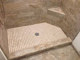 built in small bathroom bench faced off ony tile shower floor