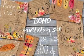 boho style wedding invitations invitation templates creative