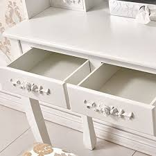 Mirrored Bedroom Furniture Uk by White Rose 4 Drawers Dressing Table Stool And Oval Mirror