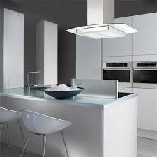 hotte ilot cuisine hotte îlot kili de chez silverline en inox et verre largeur 90 cm