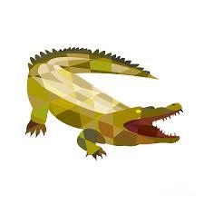 alligator crocodile gaping mouth low polygon digital art by