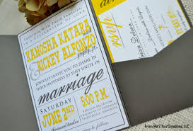 exclusive yellow and gray wedding invitations which popular in