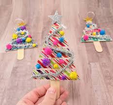popsicle stick tree ornaments spark