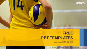 young holding volleyball sports powerpoint templates