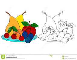 colorful fruit coloring book for kids stock vector image 62644234