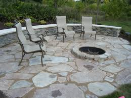 exterior backyard winter patip outdoor with stone floor and deep