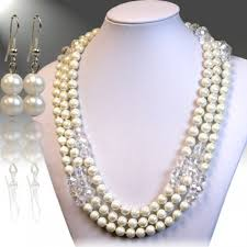 necklace pearl set images White multi strand pearl necklace set jpg