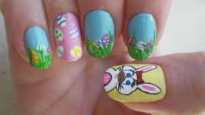 cute bunny and greens easter nails spring flowers spring nail art