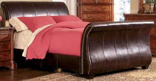 Leather Sleigh Bed Save Big On The Dark Brown Leather Sleigh Bed Queen