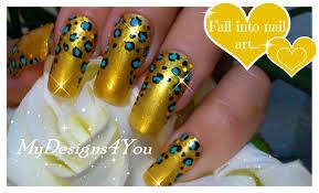 how to leopard print nail art gold nail design long nails
