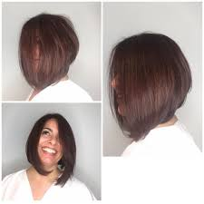 volume bob hair women s brunette shoulder length angled bob with blow out body and