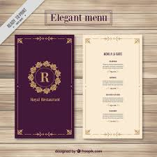 5 course menu template menu template vector free