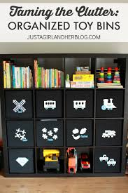 taming the clutter organized toy bins just a and her blog