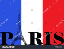 Paris Flag French Flag Paris Eiffel Tower Silhouette Stock Illustration