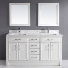 White Vanity Bathroom by Studio Bathe Calais White Double Bathroom Vanity Carrera Solid