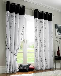 Black And White Blackout Curtains Lined Voile Panels Black White Eyelet Ring Top Ready Made