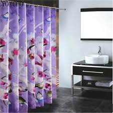 Purple Bathroom Curtains Polyester Fabric Shower Curtain Waterproof Home Bathroom Curtains