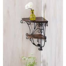 Decorative Wall Shelf Sconces Onlineshoppee Home Decor Wall Hanging Fancy Double Bracket Wooden