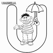 sesame street ernie umbrella coloring