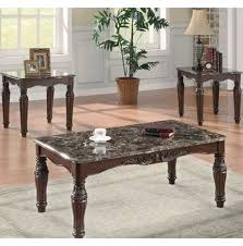 set of three end tables traditional three piece coffee table set in brown