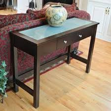Espresso Console Table Bay Shore Collection Sofa Console Table With Glass Insert Top And