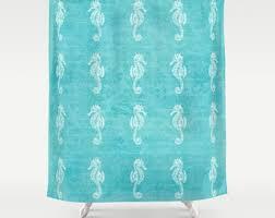 Seahorse Shower Curtain Ocean Shower Curtain Typography Quote Beach Aqua Home